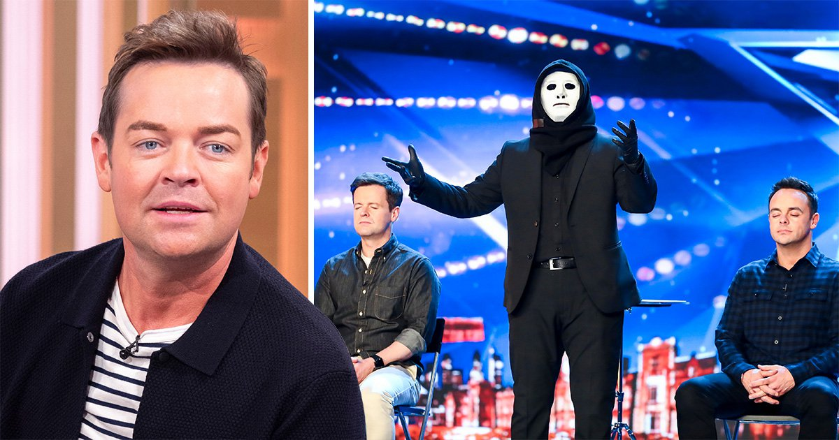 Stephen Mulhern next to the Masked Magician of Britain's Got Talent 2019