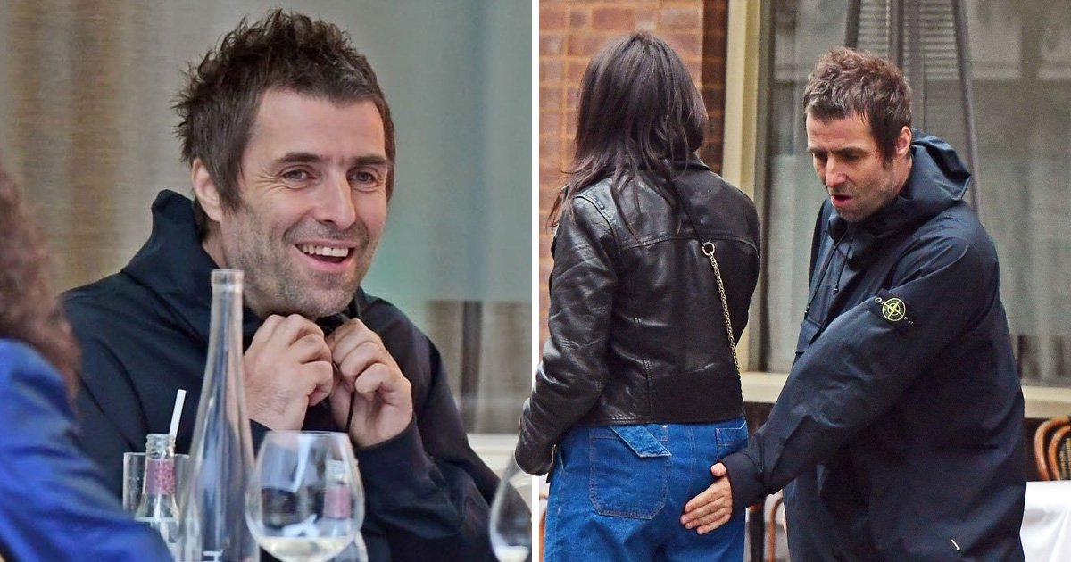 Oasis star Liam Gallagher and girlfriend Debbie Gwyther are just peachy as they get extra with the PDA at birthday lunch
