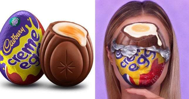 Makeup artist Katie Butt shows off her Creme Egg makeup