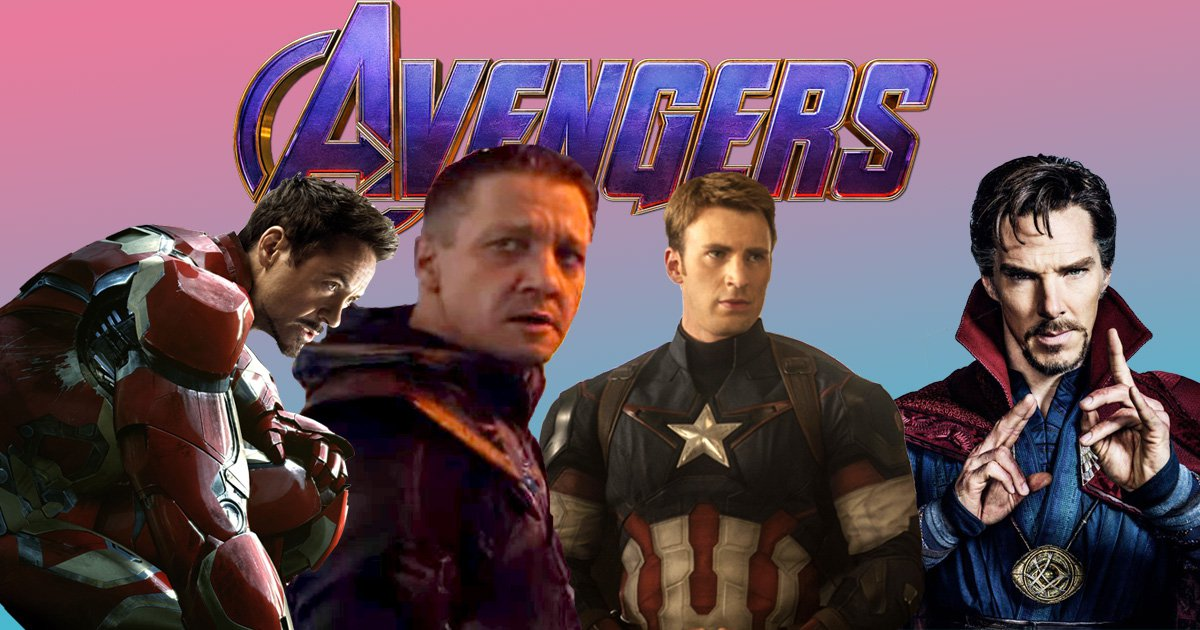 avengers endgame with robert downey jr, jeremy renner, chris evans and benedict cumberbatch