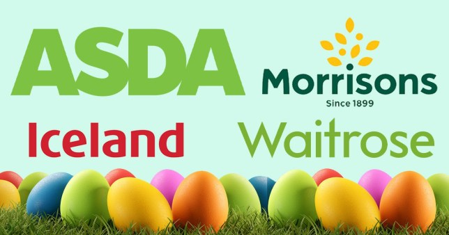 Logos for Morrisons, Waitrose, Asda and Iceland and coloured eggs for Easter