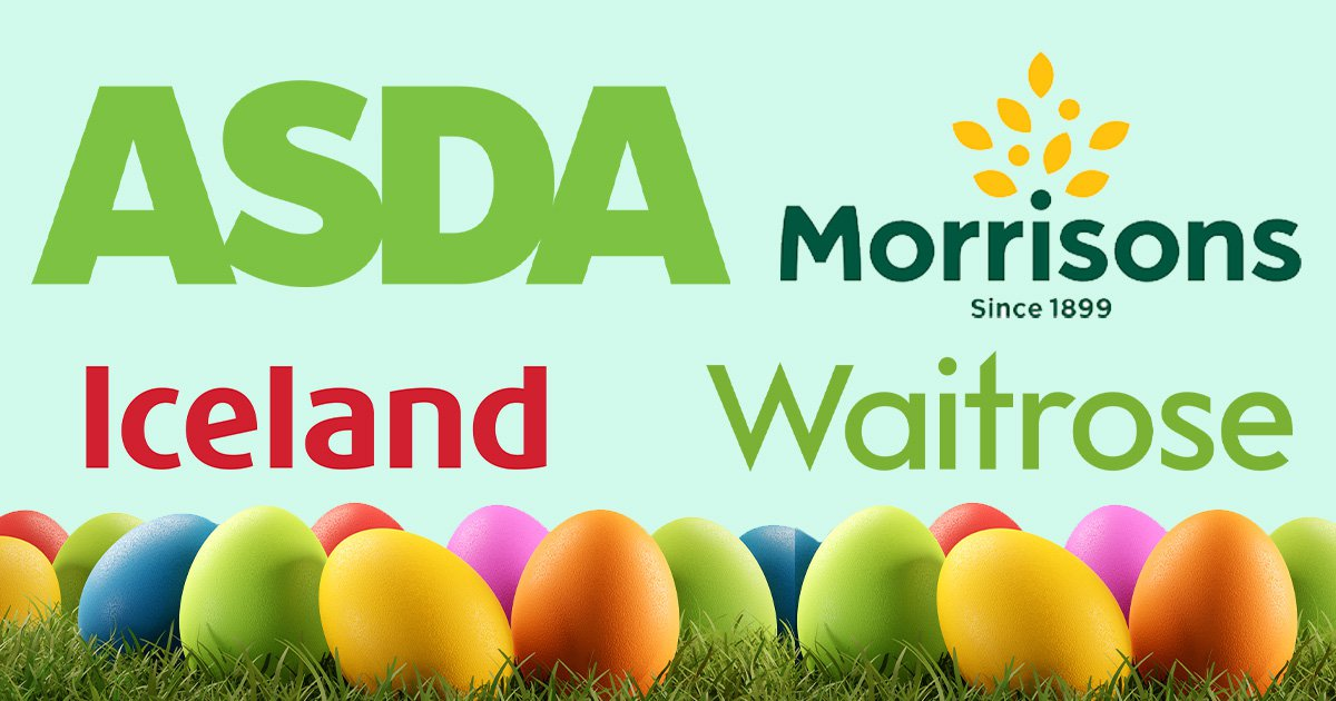 Logos for Morrisons, Waitrose, Asda and Iceland and phony eggs for Easter