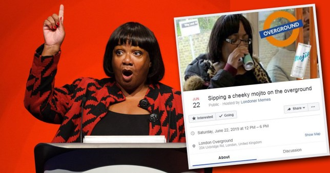 Thousands to down a 'cheeky mojito' on Tube in honour of 'lad' Diane Abbott