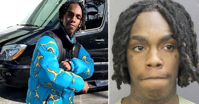 Rapper YNW Melly and his police mugshot after being arrested for murder in Florida