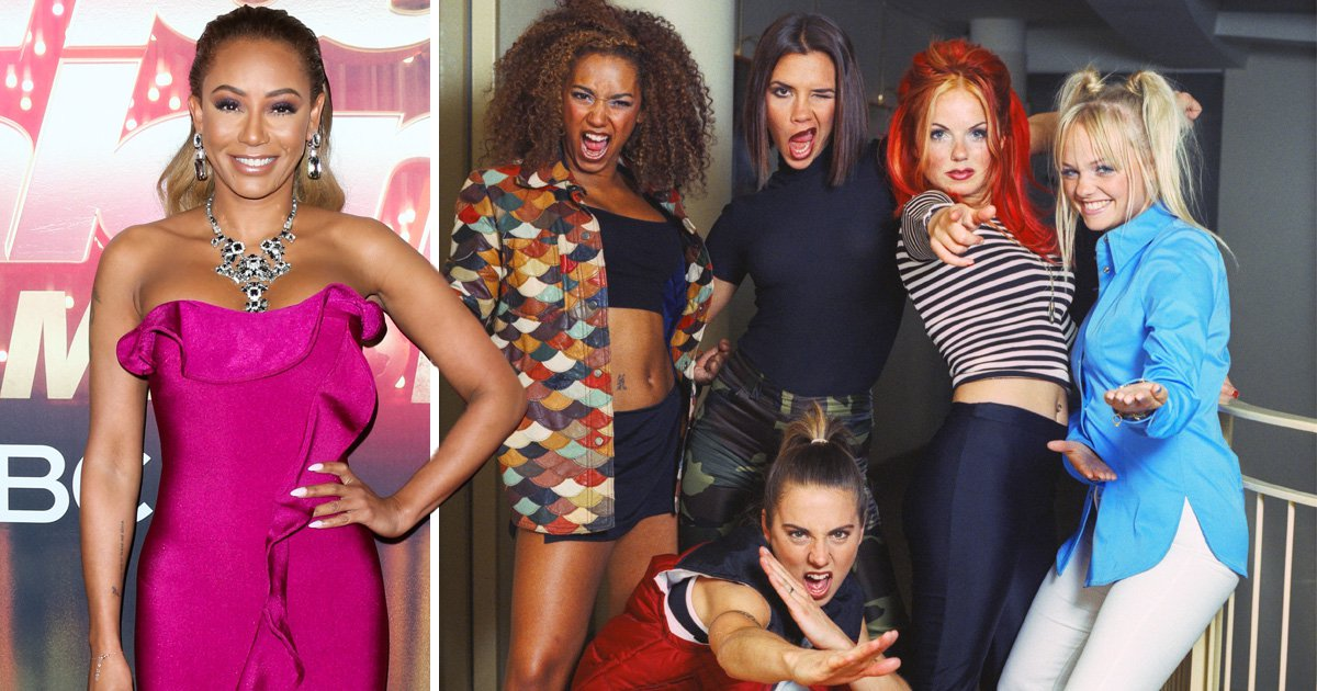 Mel B with the Spice Girls - left to right: Mel B, Victoria Beckham, Mel C, Geri Horner, Emma Bunton
