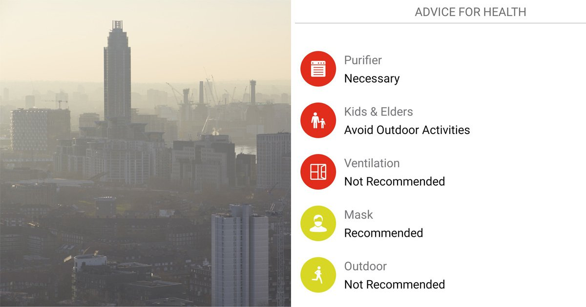 Air pollution app warns people not to go outside or open any windows
