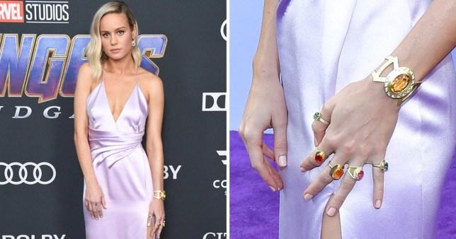 Brie Larson wearing Infinity Stones bracelet