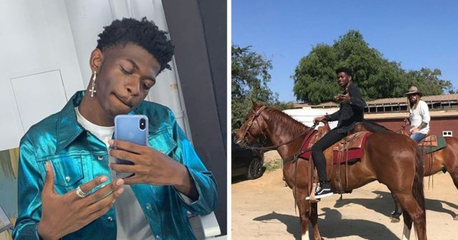 Lil Nas X and Billy Ray Cyrus horse riding