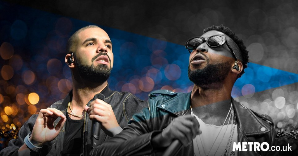 Drake and Tinie Tempah performing
