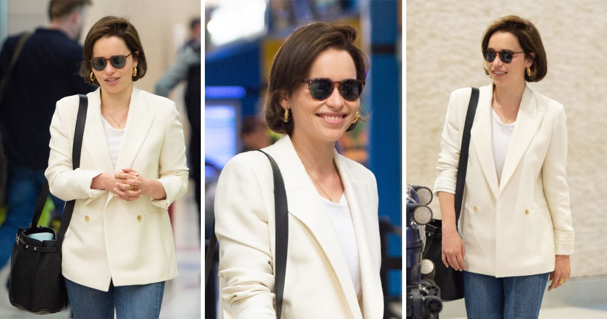 Emilia Clarke spotted at JFK airport in NYC - Game Of Thrones' Emilia Clarke is all smiles as fans eagerly wait to learn Daenerys' fate in battle of Winterfell