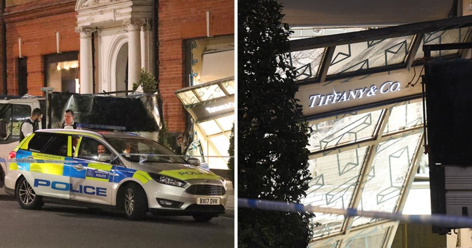 Police outside Tiffany Sloane Square in London after raid