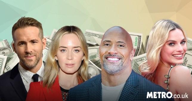Hollywood salaries netflix The Rock Emily Blunt Margot Robbie Ryan Reynolds