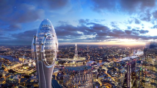 Artists impressions of the completed Tulip building in London. See SWNS story SWOCtulip; London mayor Sadiq Khan has slammed Norman Foster's plans for a new 1,000ft city centre skyscraper -- because he won't let people go up it for free