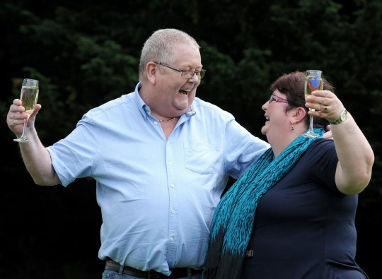 Colin and Chris Weir, from Largs in Ayrshire, celebrate during a photo call at the Macdonald Inchyra Hotel & Spa in Falkirk, after they scooped 161 million in Tuesday's EuroMillions draw.