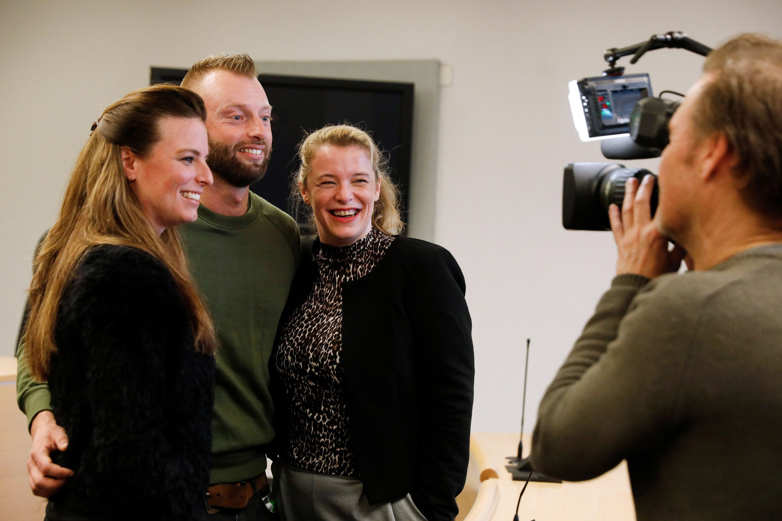 Parents and donor children react after the ruling in the case in which they demanded that the DNA of sperm doctor Jan Karbaat be compared with their DNA, in order to obtain the ultimate certainty that he was indeed their biological father, on February 13, 2019 in Rotterdam. - The now deceased owner of a clinic Jan Karbaat is said to have used his own sperm with his clients and thereby fathered 49 donor children. (Photo by Bas CZERWINSKI / ANP / AFP) / Netherlands OUT (Photo credit should read BAS CZERWINSKI/AFP/Getty Images)