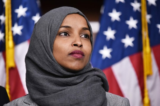 "(FILES) In this file photo taken on November 30, 2018 representative-elect Ilhan Omar, D-MN, attends a press conference in the House Visitors Center at the US Capitol in Washington, DC. - US President Donald Trump said on March 6, 2019 it was ""shameful"" that Democrats have not taken a tougher stance on anti-Semitism, following controversial remarks about Israel by one of the first Muslim women in Congress. The criticism comes as Democrats grapple with how to reprimand one of their own, first-term Minnesota congresswoman Ilhan Omar, for her repeated criticisms of Israel and a powerful pro-Israel lobby in Washington that prides itself on its influence in US politics. (Photo by MANDEL NGAN / AFP)MANDEL NGAN/AFP/Getty Images"