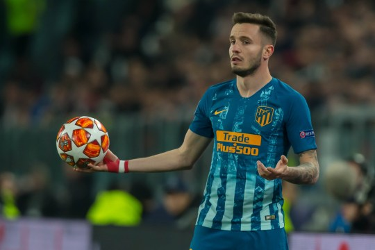 TURIN, ITALY - MARCH 12: Saul Niguez of Club de Atletico Madrid gestures during the UEFA Champions League Round of 16 Second Leg match between Juventus and Club de Atletico Madrid at Allianz Stadium on March 12, 2019 in Turin, Italy. (Photo by TF-Images/Getty Images)