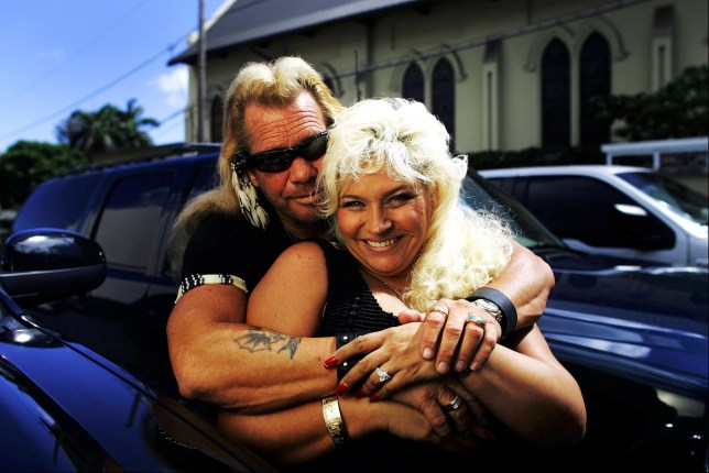 Editorial use only Mandatory Credit: Photo by David Howells/REX/Shutterstock (602297b) Duane 'Dog' Chapman, AKA Dog the Bounty Hunter with his wife Beth. Duane 'Dog' Chapman in his office in Honolulu, Hawaii, America - 10 Jul 2006