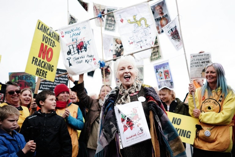 PRESTON, ENGLAND - OCTOBER 16: Vivienne Westwood protests outside Preston New Road Cuadrilla fracking site on October 16, 2018 in Preston, England. (Photo by Ki Price/Getty Images)
