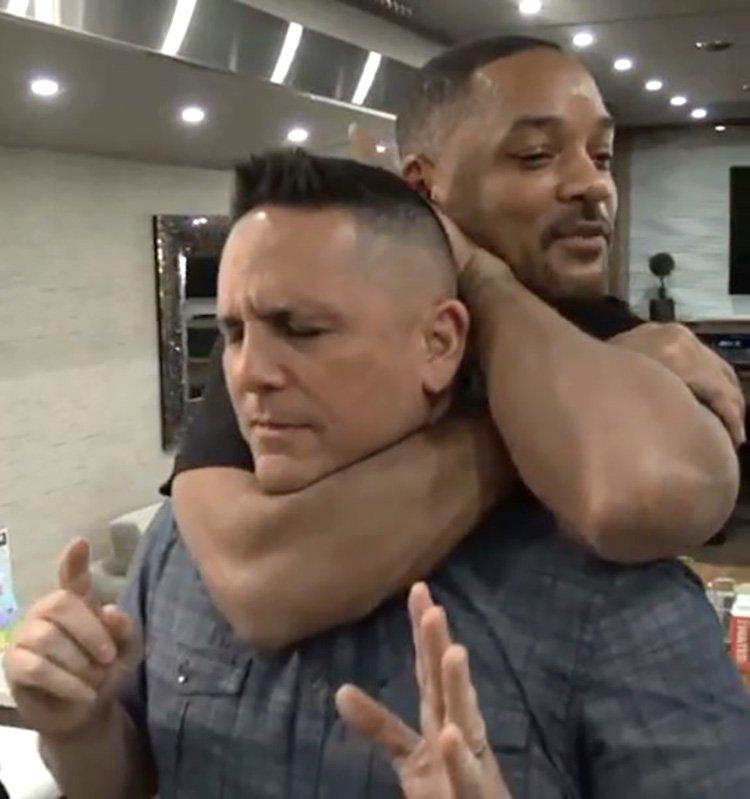 Will Smith choke-holding on Bad Boys 3 set Provider: Instagram/willsmith Source: https://www.instagram.com/p/Bvw97FzATPZ/