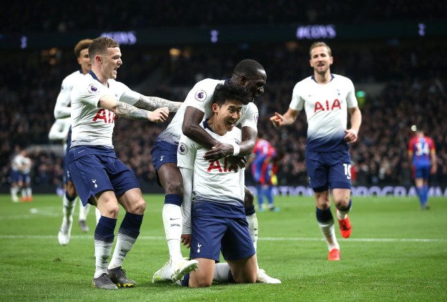 LONDON, ENGLAND - APRIL 03: Heung-Min Son of Tottenham Hotspur celebrates with teammates after scoring his team's first goal during the Premier League match between Tottenham Hotspur and Crystal Palace at Tottenham Hotspur Stadium on April 03, 2019 in London, United Kingdom. (Photo by Tottenham Hotspur FC/Tottenham Hotspur FC via Getty Images)