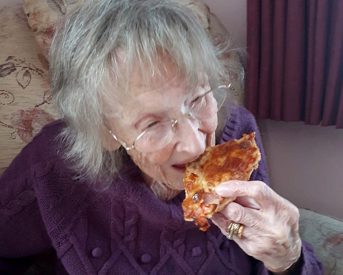 The grandmother-of-nine wondered why she'd 'resisted pizza for so long' (Picture: Prudence family/SWNS)