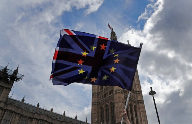 A pro EU protestor waves flags opposite the House of Parliament in London, Thursday, April 4, 2019. Meetings are planned Thursday between the British government and the opposition Labour Party in an urgent search for a compromise solution to the country's departure from the European Union. The upper House of Lords is also set to consider legislation that would force Prime Minister Theresa May to seek a delay from the EU. (AP Photo/Frank Augstein)