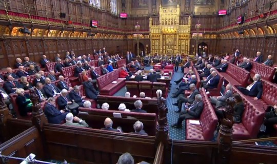 """A video grab from footage broadcast by the UK Parliament's Parliamentary Recording Unit (PRU) shows members the House of Lords gathering together to discuss the European Union Withdrawal (No. 5) bill, as proposed by Labour MP Yvette Cooper, in the House of Commons, in London on April 4, 2019. - British MPs forced through legislation instructing Prime Minister Theresa May to seek a further extension rather than leave without a deal on April 12, the current legal cut-off point if parliament fails to agree a deal, although it has yet to be approved by the upper House of Lords. (Photo by HO / various sources / AFP) / RESTRICTED TO EDITORIAL USE - MANDATORY CREDIT """" AFP PHOTO / PRU """" - NO USE FOR ENTERTAINMENT, SATIRICAL, MARKETING OR ADVERTISING CAMPAIGNSHO/AFP/Getty Images"""