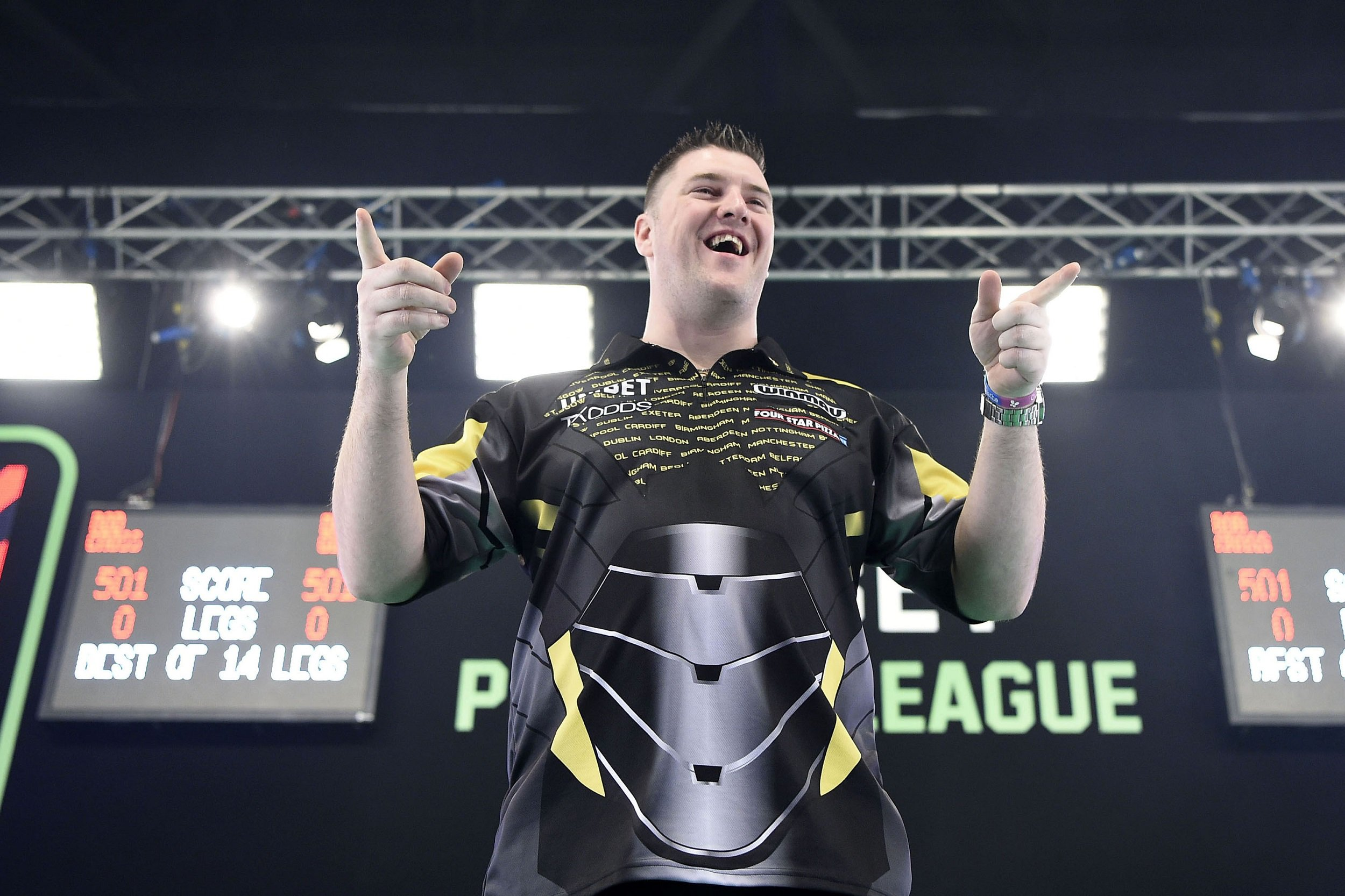4/4/19: Daryl Gurney in action against Rob Cross during the Unibet Premier League Darts at the SSE Arena, Belfast. Picture: Michael Cooper
