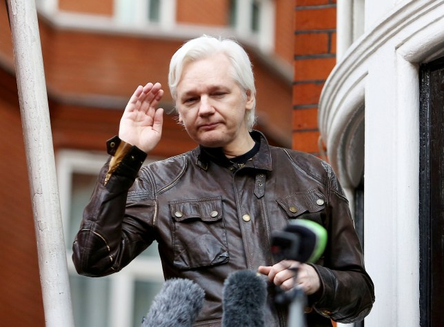 Julian Assange outside the Ecuadorian Embassy where he has been living for seven years