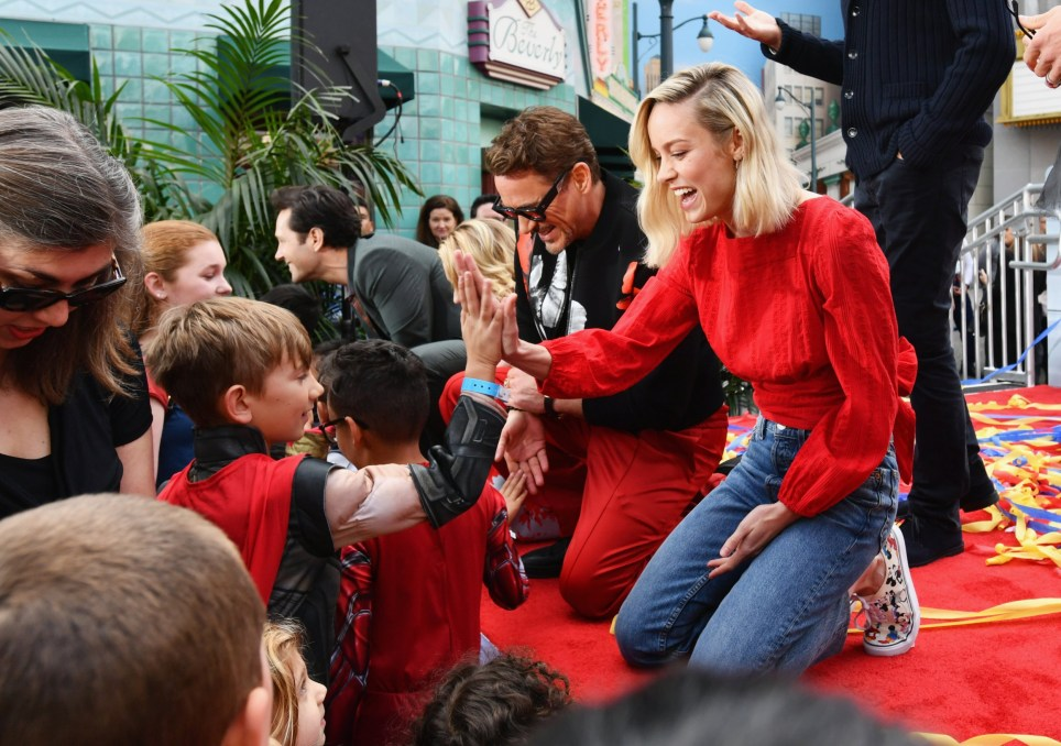 ANAHEIM, CA - APRIL 05: (L-R) Paul Rudd, Scarlett Johansson, Robert Downey Jr. and Brie Larson attend Avengers Universe Unites, a charity event to celebrate the donation of more than $5 million in cash and toys to nonprofits supporting children with critical illnesses, at Disney California Adventure Park on April 5, 2019 in Anaheim, California. (Photo by Emma McIntyre/Getty Images for Disney)