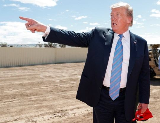 U.S. President Donald Trump tours the area around the U.S.-Mexico border wall in Calexico, California, U.S., April 5, 2019. REUTERS/Kevin Lamarque