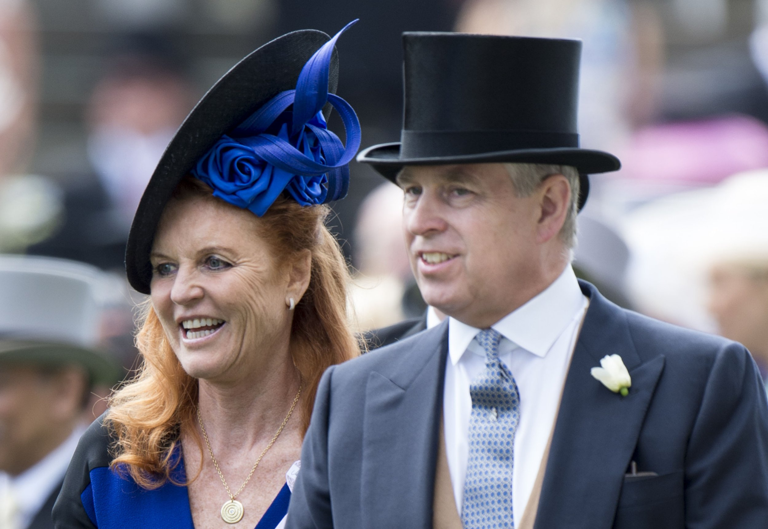 ASCOT, ENGLAND - JUNE 19: Sarah Ferguson, Duchess of York and Prince Andrew, Duke of York on day 4 of Royal Ascot at Ascot Racecourse on June 19, 2015 in Ascot, England. (Photo by Mark Cuthbert/UK Press via Getty Images)