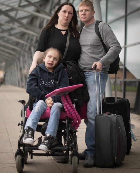 Emma Appleby (left), Lee Moore and their daughter Teagan who has severe epilepsy and was prescribed a cannabis-based medicine but has not been able to access it on the NHS, at London Southend Airport, Essex, after having the medicine they purchased in Amsterdam confiscated by customs officers. PRESS ASSOCIATION Photo. Picture date: Saturday April 6, 2019. See PA story HEALTH Cannabis. Photo credit should read: Stefan Rousseau/PA Wire