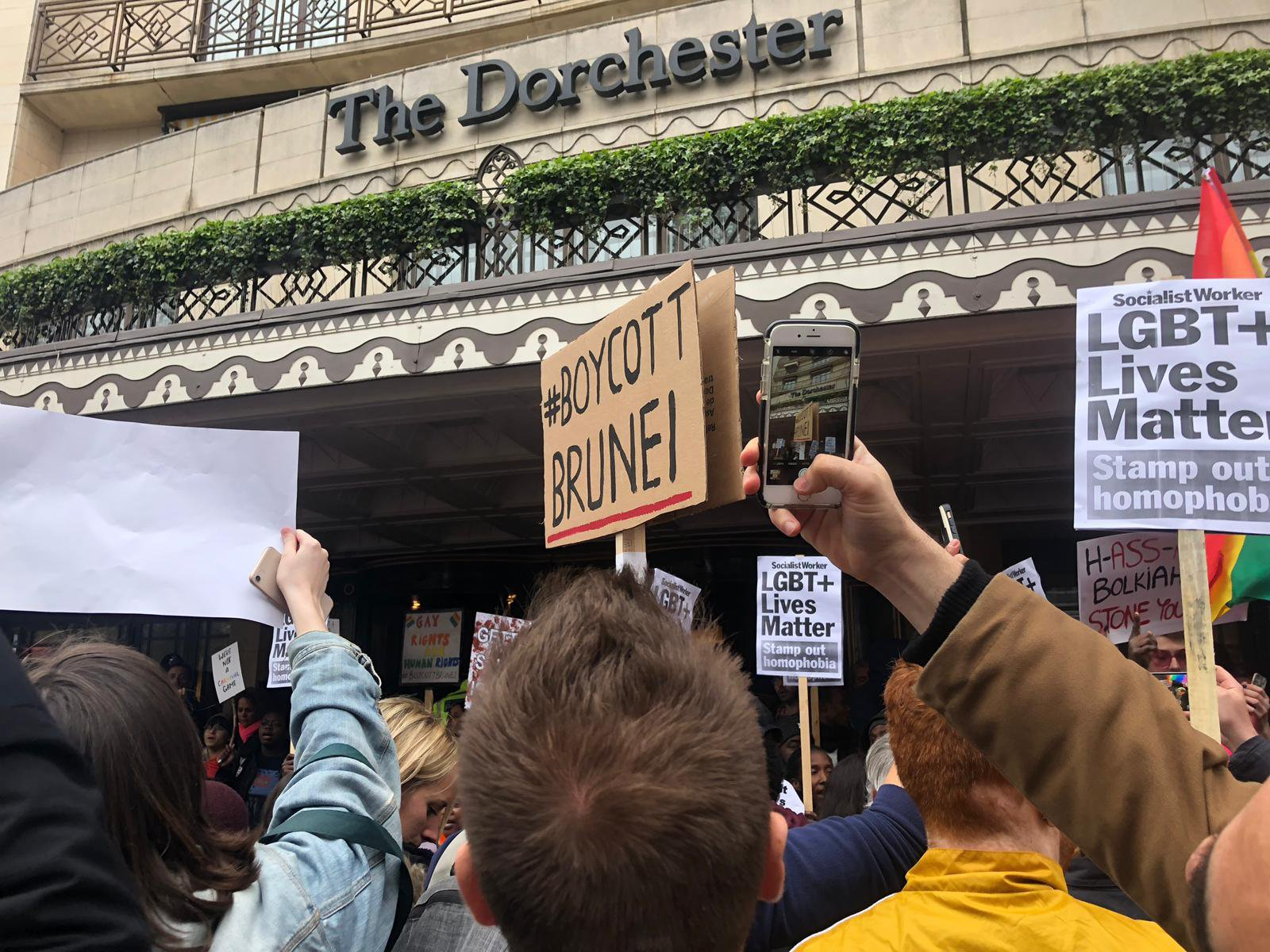 Dorchester Protest - Protesters gather outside the Dorchester Hotel against Brunei's anti-LGBT laws