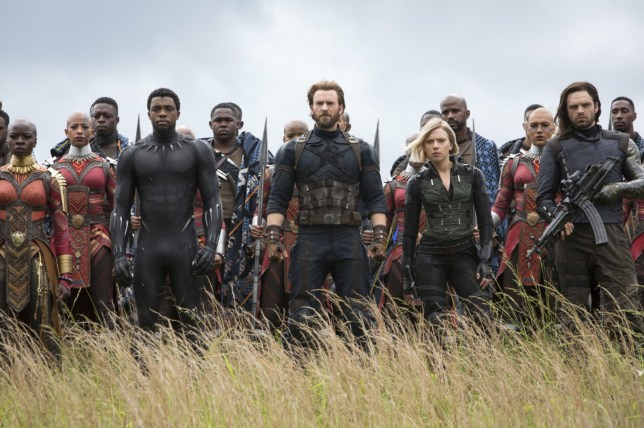 Editorial use only. No book cover usage. Mandatory Credit: Photo by Walt Disney Studios/Moviestore/REX/Shutterstock (9656345k) Danai Gurira, Chadwick Boseman, Chris Evans, Scarlett Johansson, Sebastian Stan Avengers Infinity War - 2018
