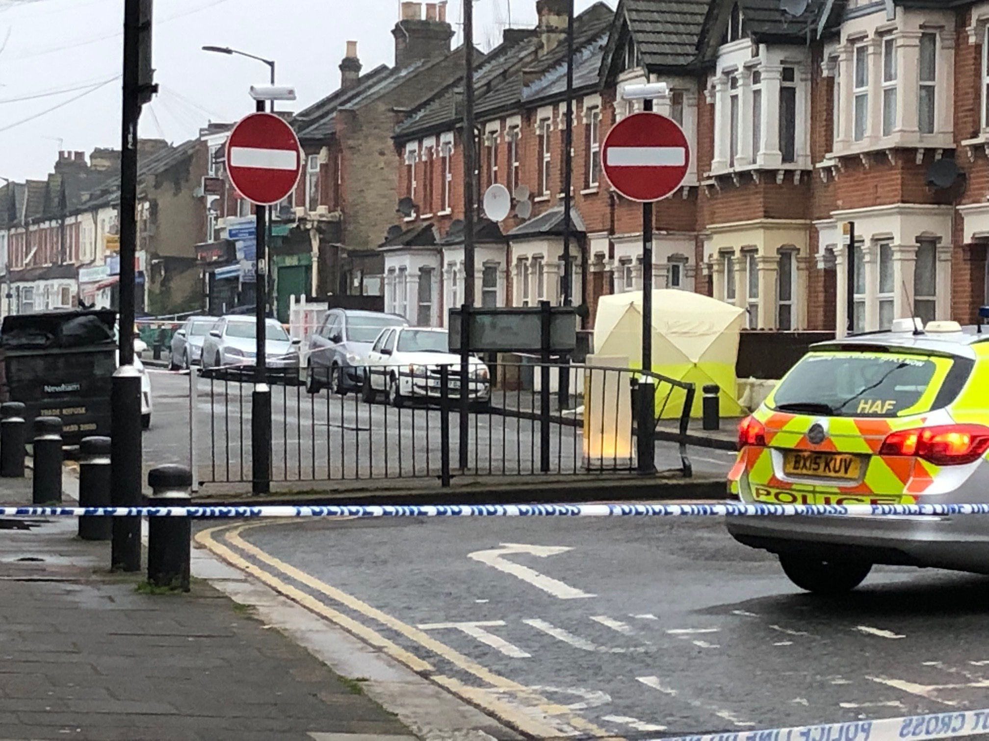 Police at the scene where a man in his 20s died of gunshot and stab wounds in east London on Monday night. PRESS ASSOCIATION Photo. Picture date: Tuesday April 9, 2019. The London Ambulance Service alerted police that a man had been attacked in Church Road, Manor Park, shortly before 9.30pm. He died at the scene. See PA story POLICE Newham. Photo credit should read: Tess De La Mare/PA Wire
