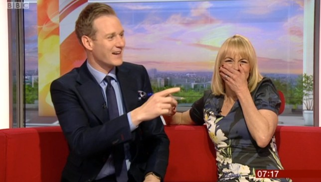 BBC Breakfast showing Louise Minchin's phone going-off on set