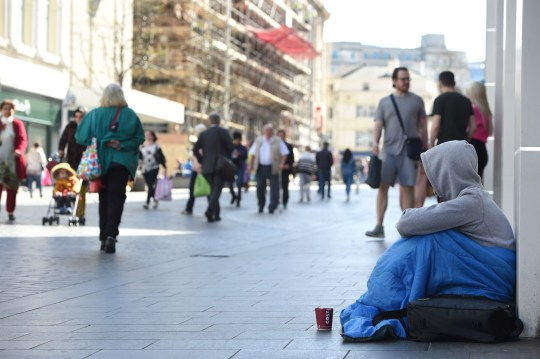 A homeless man on Church Street, Liverpool Credit: Liverpool Echo
