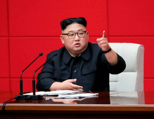In this Wednesday, April 10, 2019, photo provided by the North Korean government, North Korean leader Kim Jong Un attends the 4th Plenary Meeting of the 7th Central Committee of the Workers' Party of Korea in Pyongyang, North Korea. Independent journalists were not given access to cover the event depicted in this image distributed by the North Korean government. The content of this image is as provided and cannot be independently verified. (Korean Central News Agency/Korea News Service via AP)