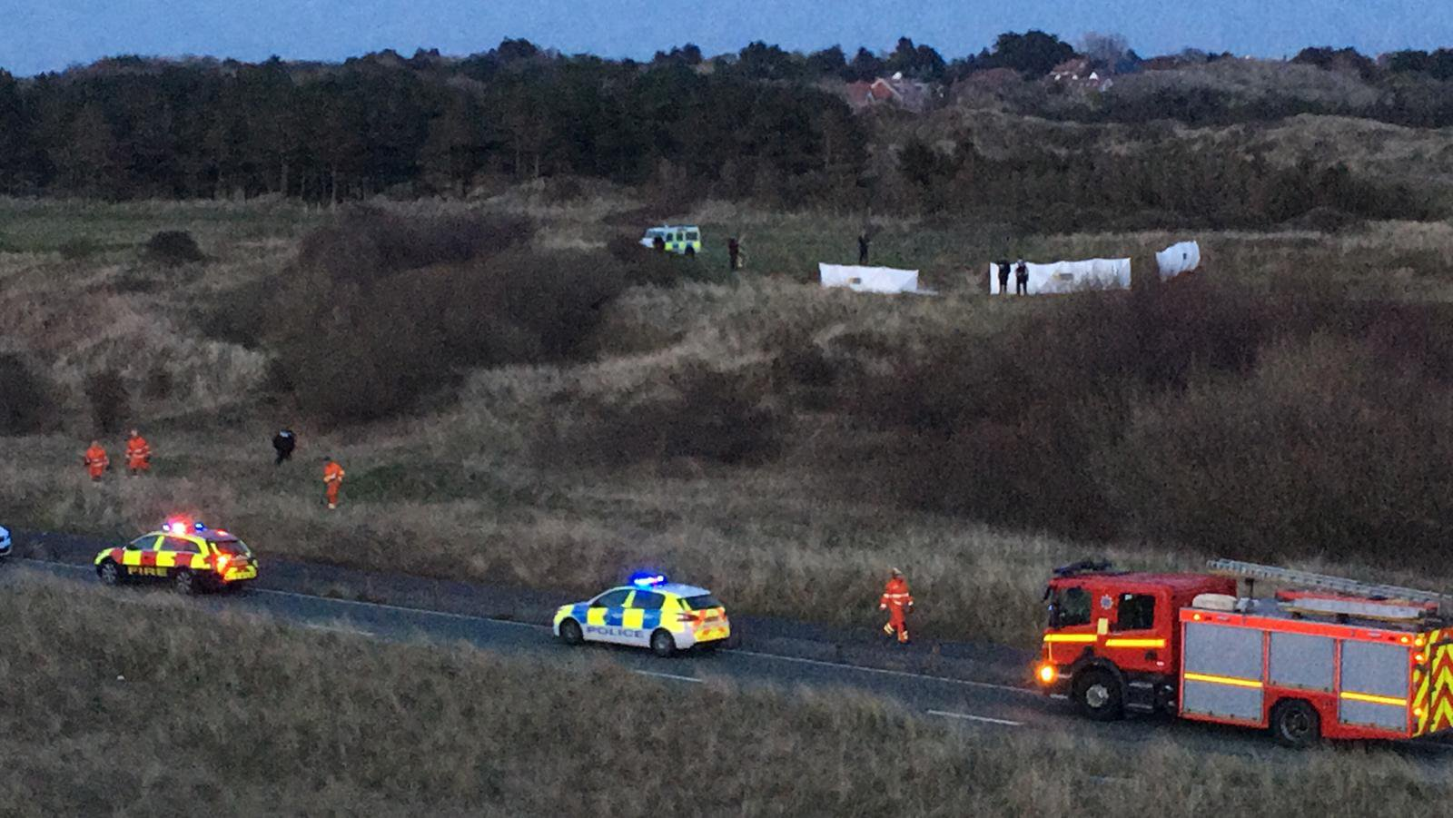 A plane has crashed onto a golf course and burst into flames in Merseyside this evening [April 11]. The aircraft, described by police as a microlight, plummeted onto Royal Birkdale Golf Club in Southport at around 7pm. Caption: Emergency services at the scene of an aircraft crash at Royal Birkdale Golf Club in Southport, Merseyside, on April 11, 2019