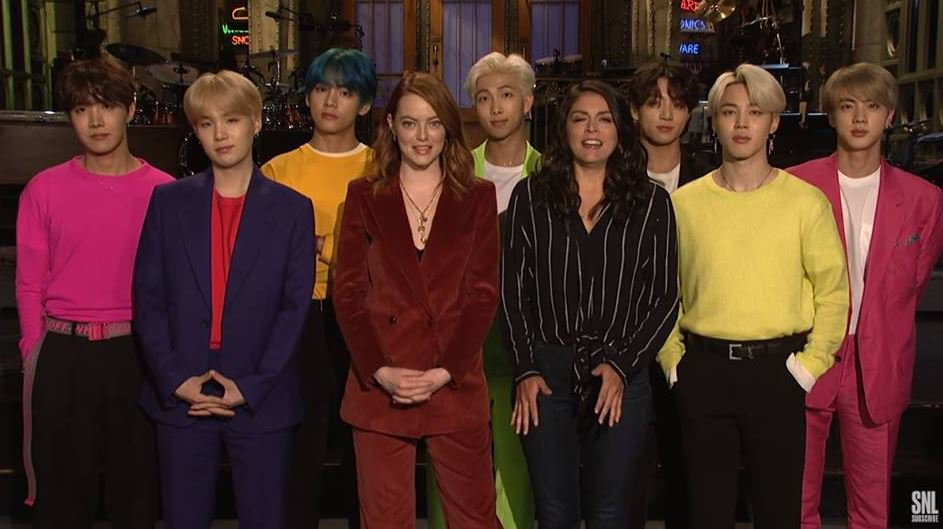 BTS hype up SNL appearance Ahead of BTS?s appearance as the musical guest for this week?s episode of ?Saturday Night Live,? the show has revealed new promo videos. One video features Emma Stone, the host for this week?s episode, and Cecily Strong freaking out about BTS. Check out the clip below!