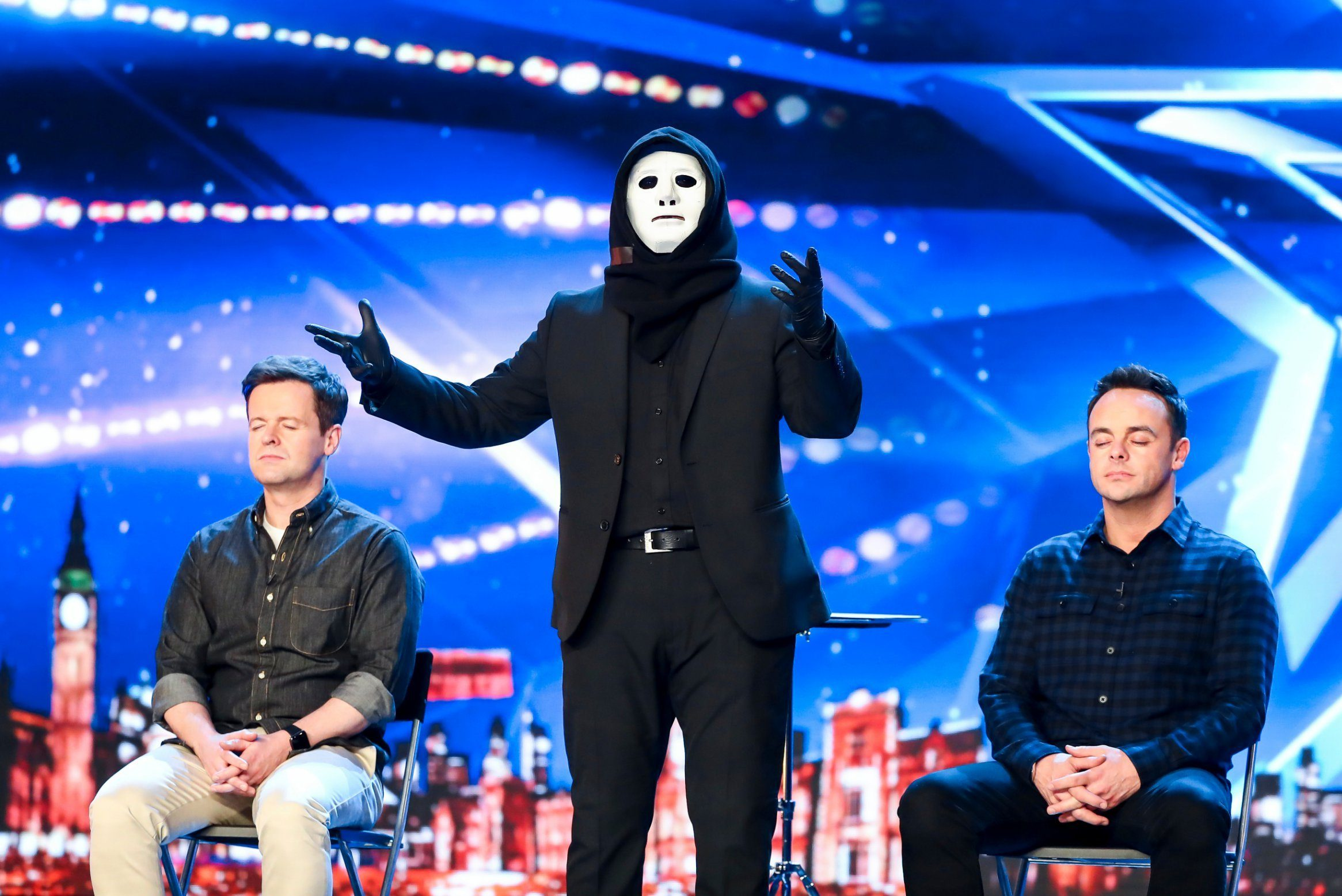 STRICT EMBARGO - NO USE BEFORE 00:01 SATURDAY 13 APRIL 2019 - Editorial use only. No book publishing. Mandatory Credit: Photo by Dymond/Thames/Syco/REX (10201923aa) The Masked Magician 'Britain's Got Talent' TV Show, Series 13, Episode 2, UK - 13 Apr 2019