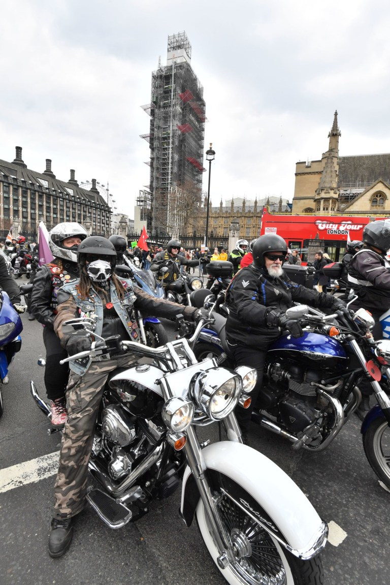 Motorcyclists take part in the Rolling Thunder ride protest in London, to support of Soldier F who is facing prosecution over Bloody Sunday. PRESS ASSOCIATION Photo. Picture date: Friday April 12, 2019. Soldier F is to be charged with murdering two people after troops opened fire on civil rights demonstrators in Londonderry in 1972. See PA story ULSTER Sunday. Photo credit should read: John Stillwell/PA Wire