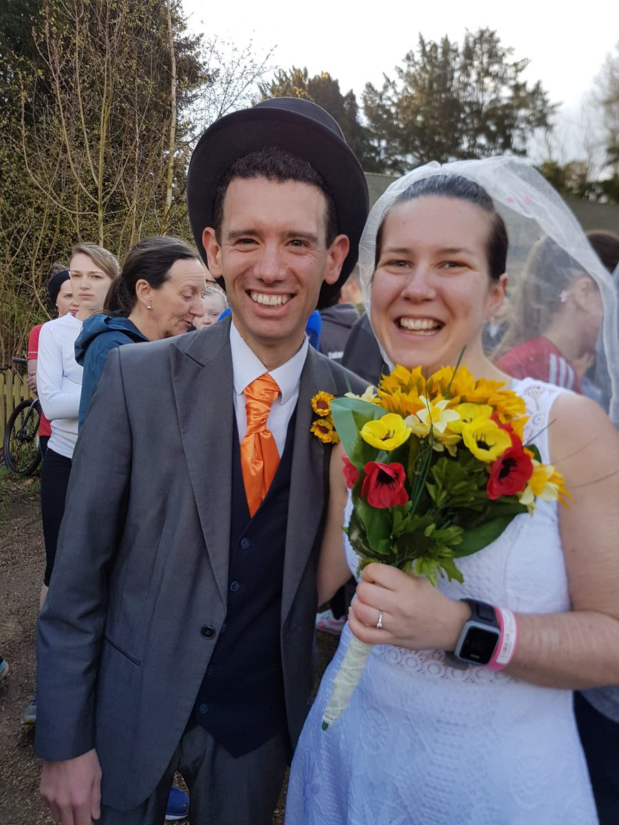 Bride and groom do Parkrun on wedding day with their guests
