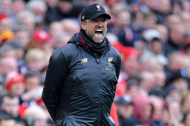 epa07506838 Liverpool manager Jurgen Klopp reacts during the English Premier League match between Liverpool FC and Chelsea FC at Anfield, Liverpool, Britain, 14 April 2019. EPA/PETER POWELL EDITORIAL USE ONLY. No use with unauthorized audio, video, data, fixture lists, club/league logos or 'live' services. Online in-match use limited to 120 images, no video emulation. No use in betting, games or single club/league/player publications.