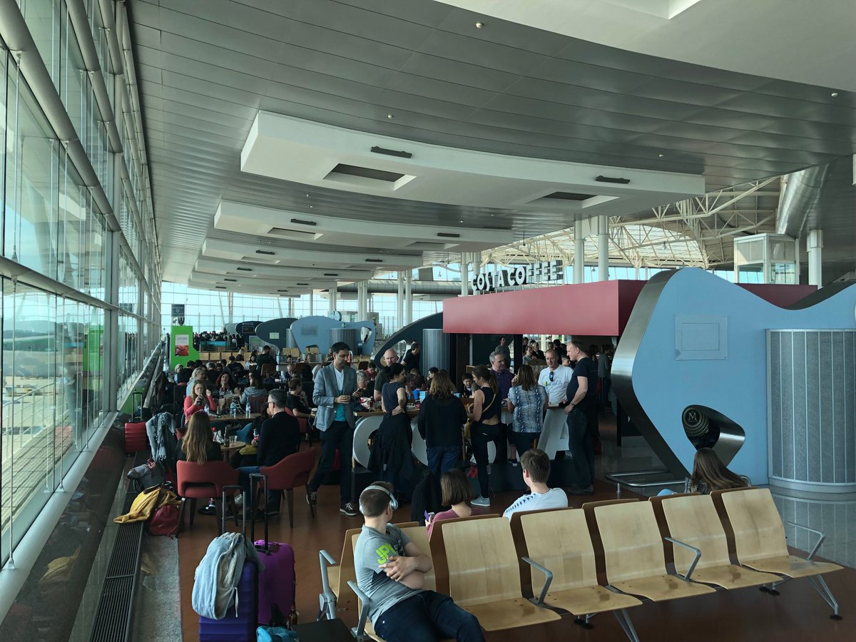 Easyjet passengers are left stranded in airport for FIVE hours Provider: Twitter/frazerrendell Source: https://twitter.com/frazerrendell/status/1116712476027105280 https://twitter.com/frazerrendell/status/1116803312148451329