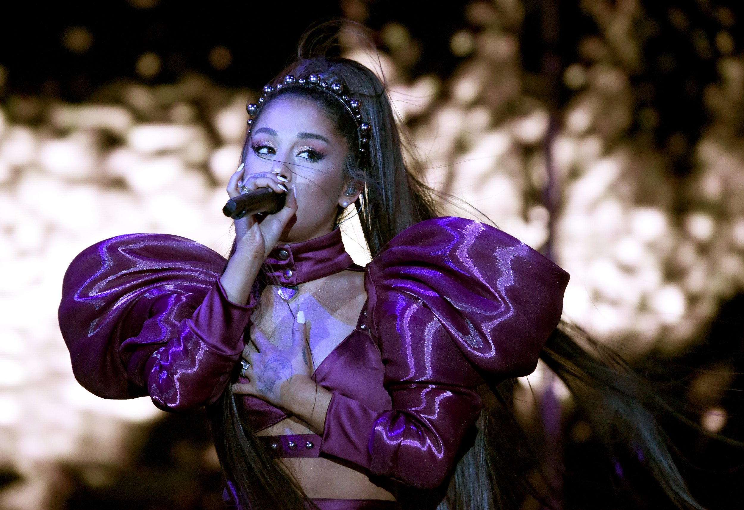 INDIO, CALIFORNIA - APRIL 14: Ariana Grande performs on Coachella Stage during the 2019 Coachella Valley Music And Arts Festival on April 14, 2019 in Indio, California. (Photo by Kevin Mazur/Getty Images for AG)