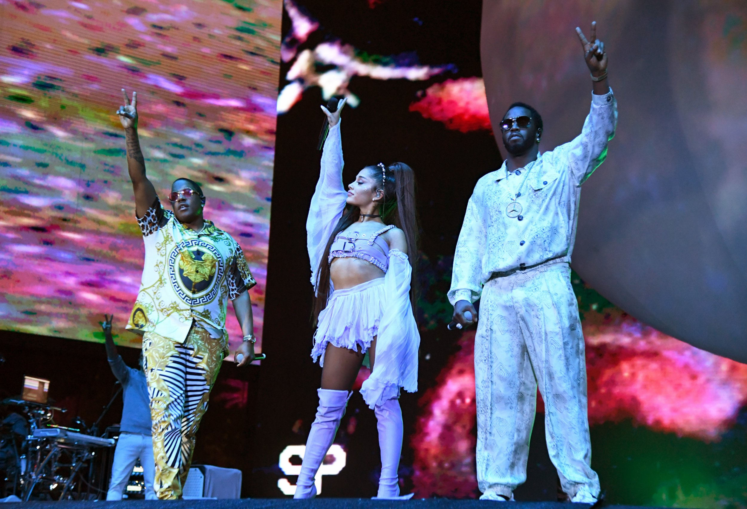 INDIO, CALIFORNIA - APRIL 14: (L-R) Mase, Ariana Grande and Diddy perform on Coachella Stage during the 2019 Coachella Valley Music And Arts Festival on April 14, 2019 in Indio, California. (Photo by Kevin Mazur/Getty Images for AG)
