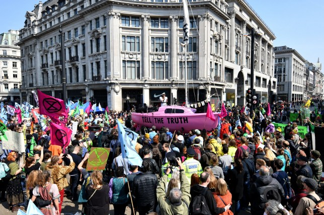 Extinction Rebellion campaigners block Oxford Circus, London